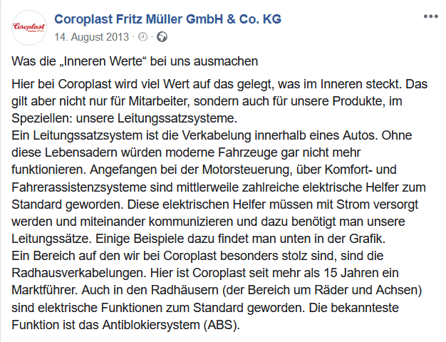 Facebook-Beitrag Coroart 2014