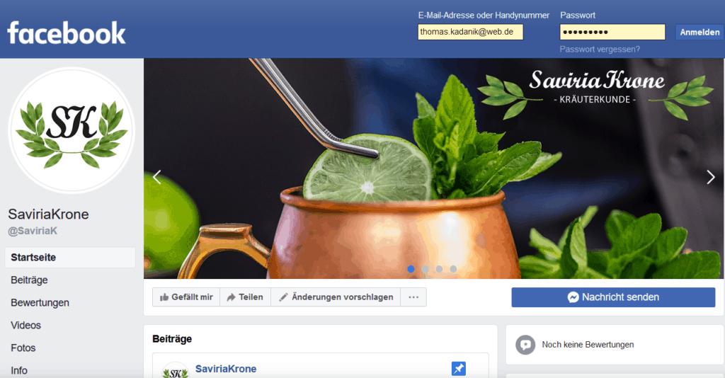 Facebook Fanpage SaviriaKrone Kräuterkunde