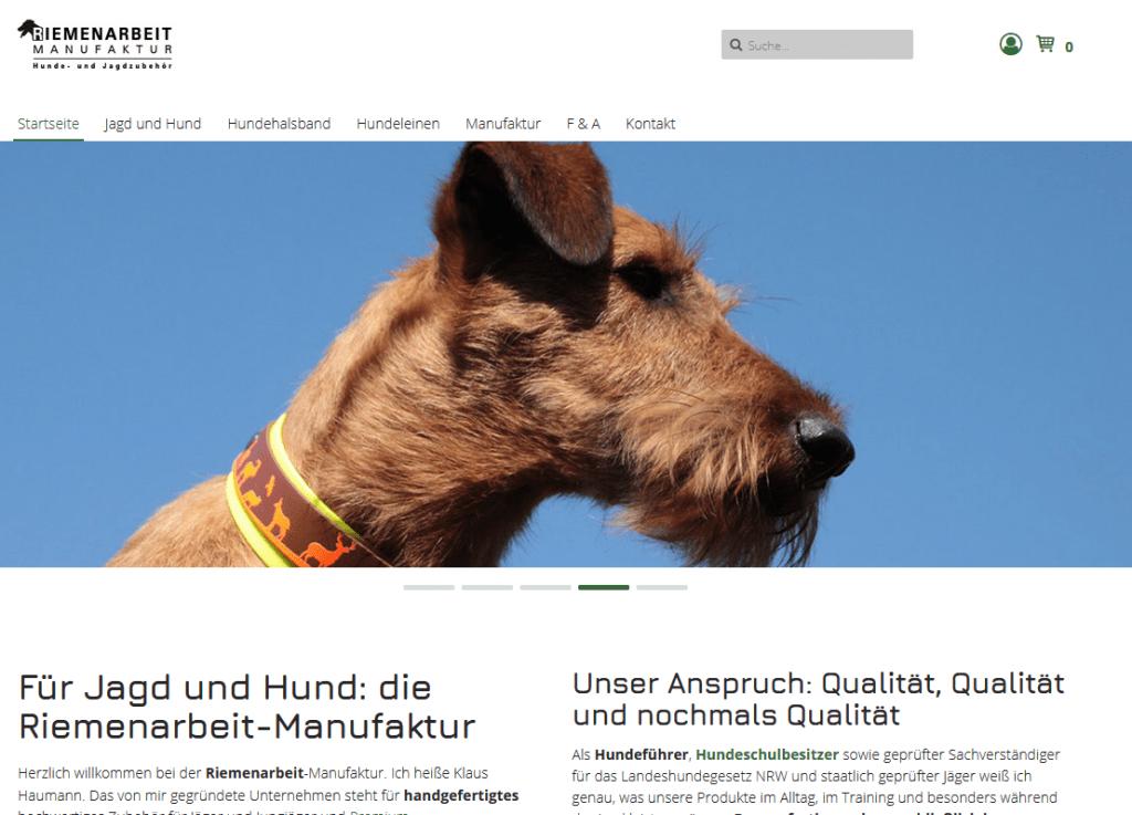 SEO Projekt Website Riemenarbeit Startseite