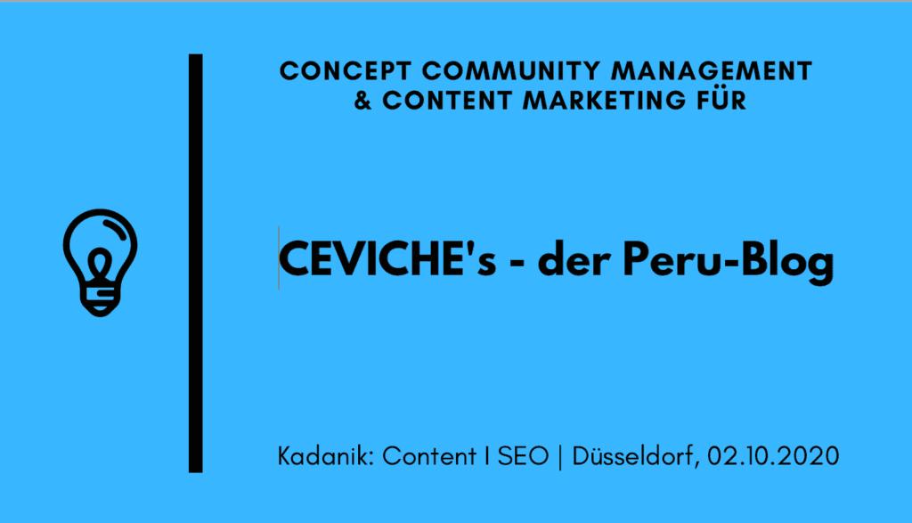 Präsentation Content Marketing CEVICHE's - der PERU Blog
