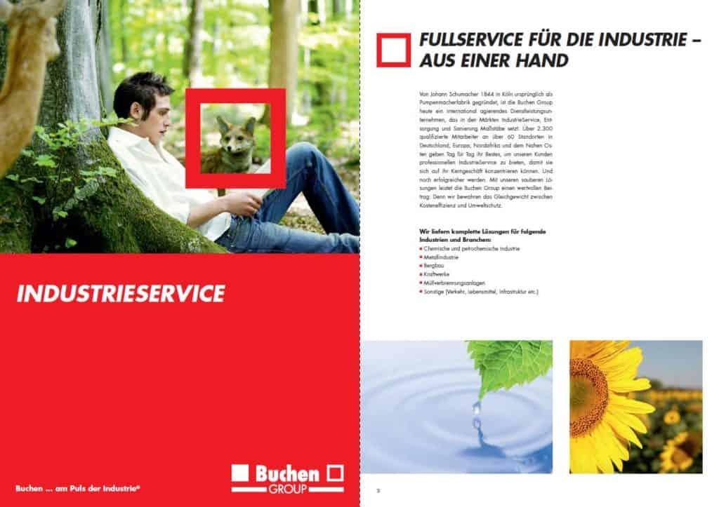 Bereichsbroschuere von Buchen Industrieservice Doppelseite