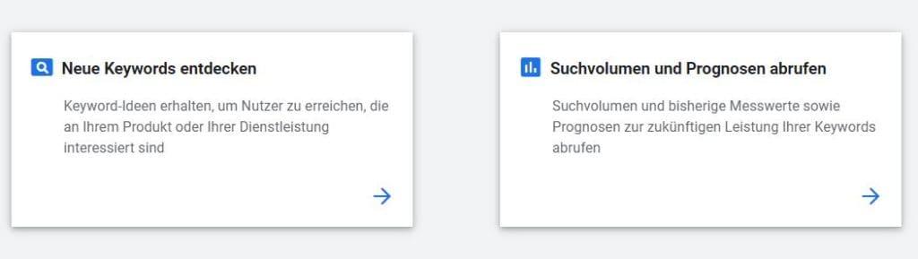 SEO-Texte Keyword Planner