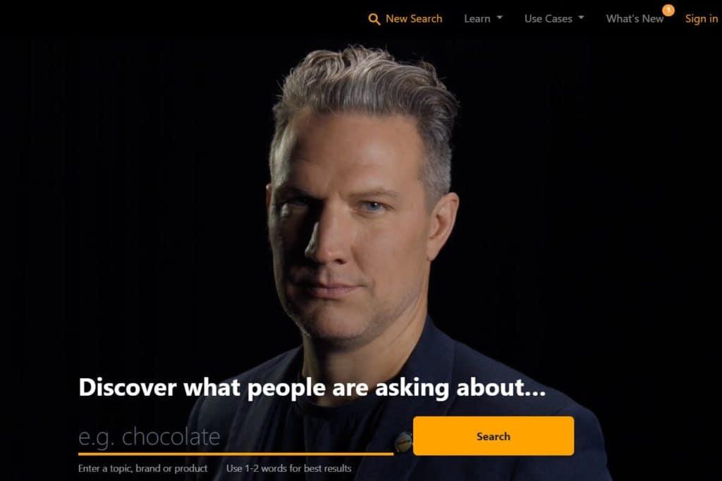 Startseite von answerthepublic