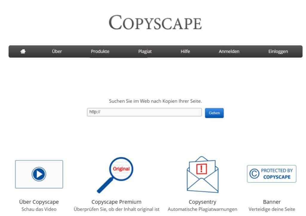 Startseite Copyscape Plagiarism Checker